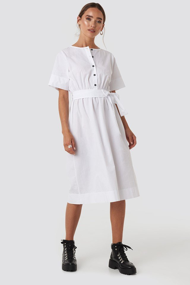 Round Neck Button Up Midi Dress White