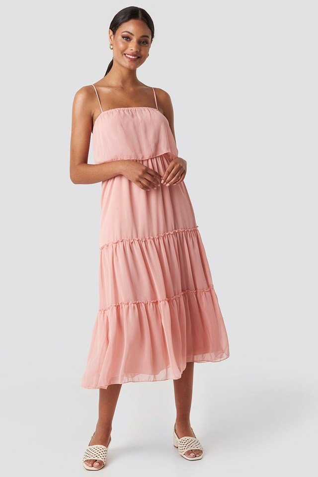 Carmen Neck Midi Dress Pink