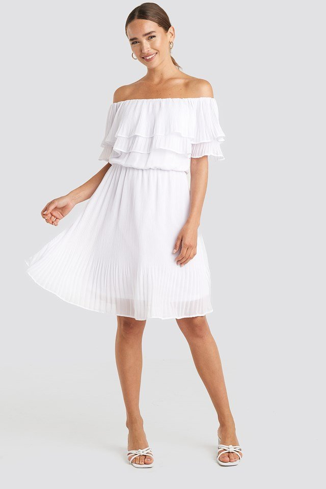 Double Tier Off Shoulder Dress White