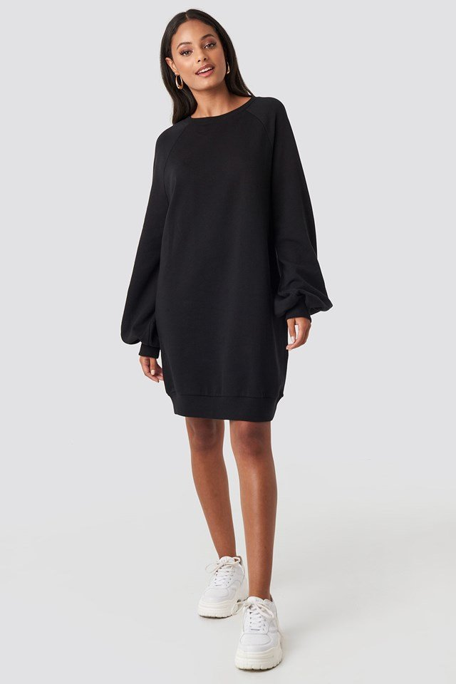 Balloon Sleeve Sweatshirt Mini Dress Black