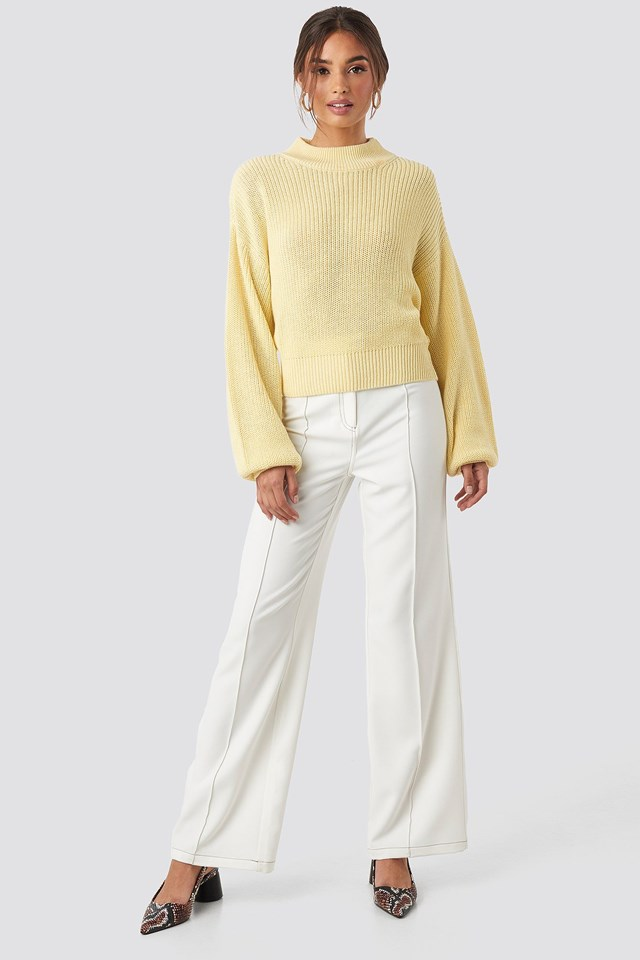 Volume Sleeve High Neck Knitted Sweater Yellow