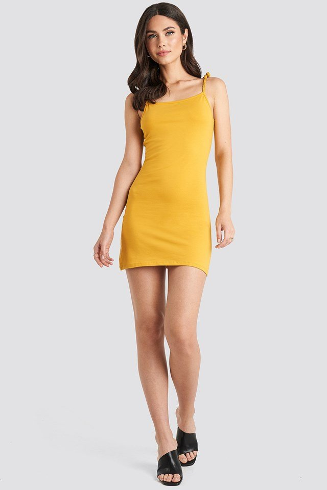 Tie Strap Jersey Mini Dress Yellow Outfit