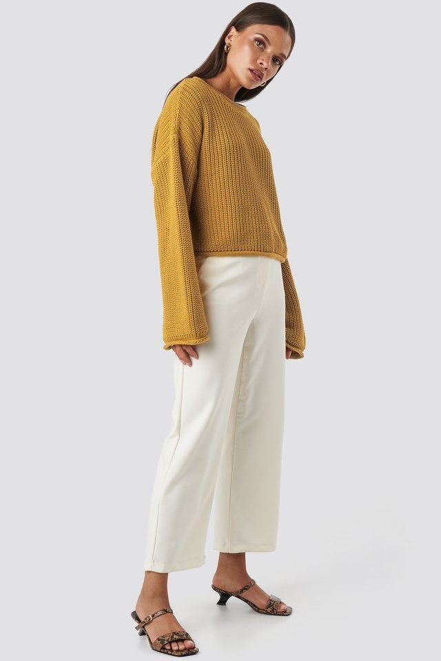 Cropped Boat Neck Knitted Sweater Yellow Outfit