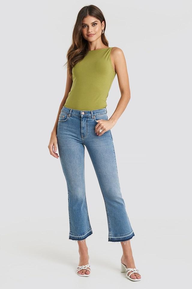 Undone Hem Kick Flare Jeans Blue Outfit