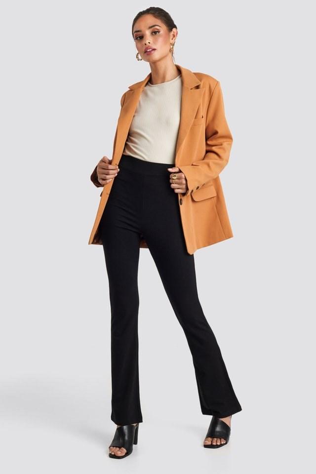 High Waist Straight Leg Jersey Pants Black Outfit
