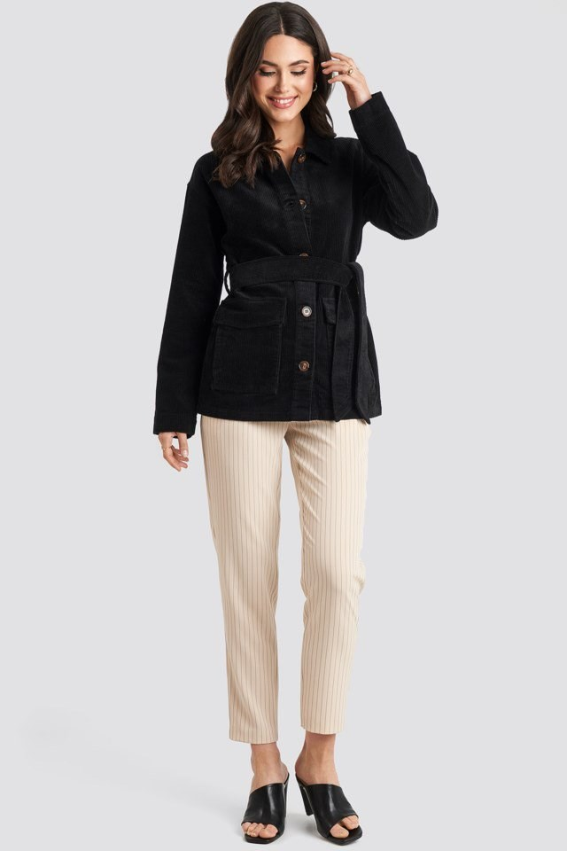 Tied Waist Corduroy Jacket Black Outfit