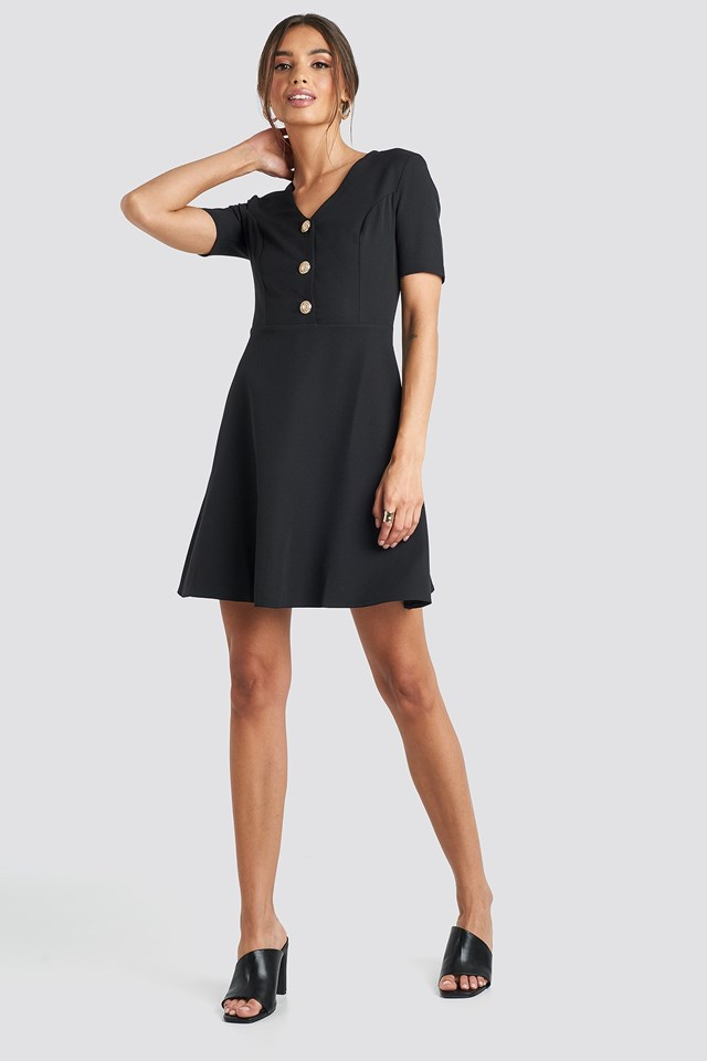 V-Neck Front Button Mini Dress Black Outfit.