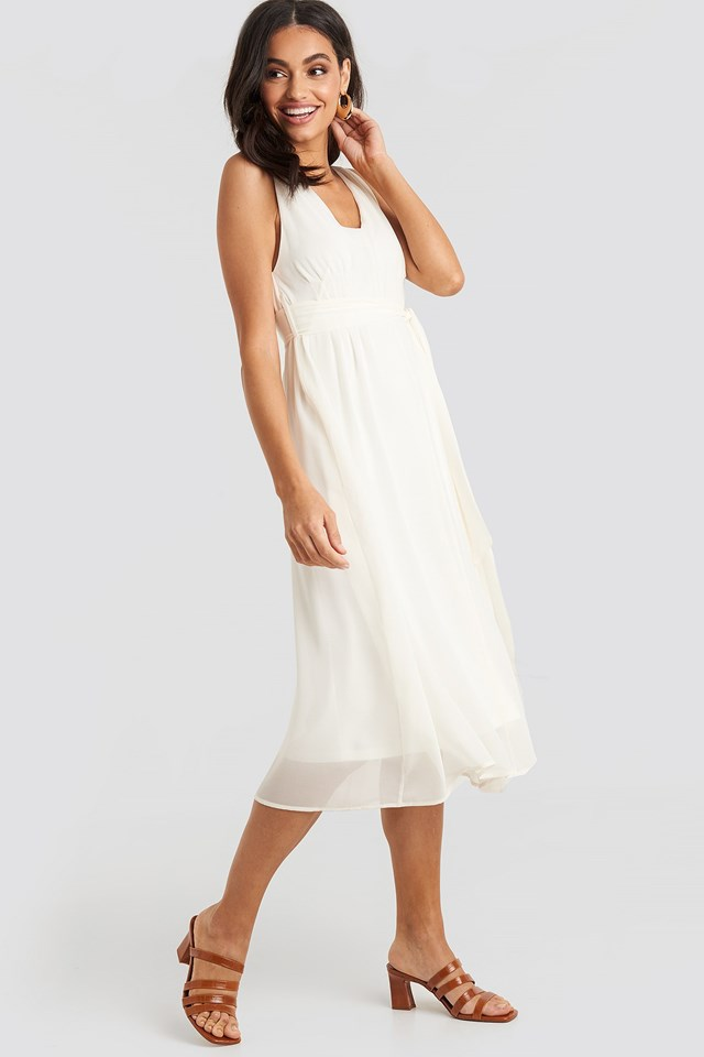 Belted Chiffon Midi Dress White Outfit.