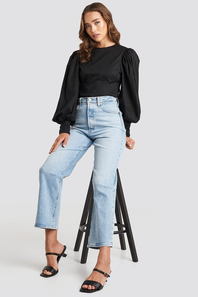 Puff Sleeve Fitted Top Black Outfit