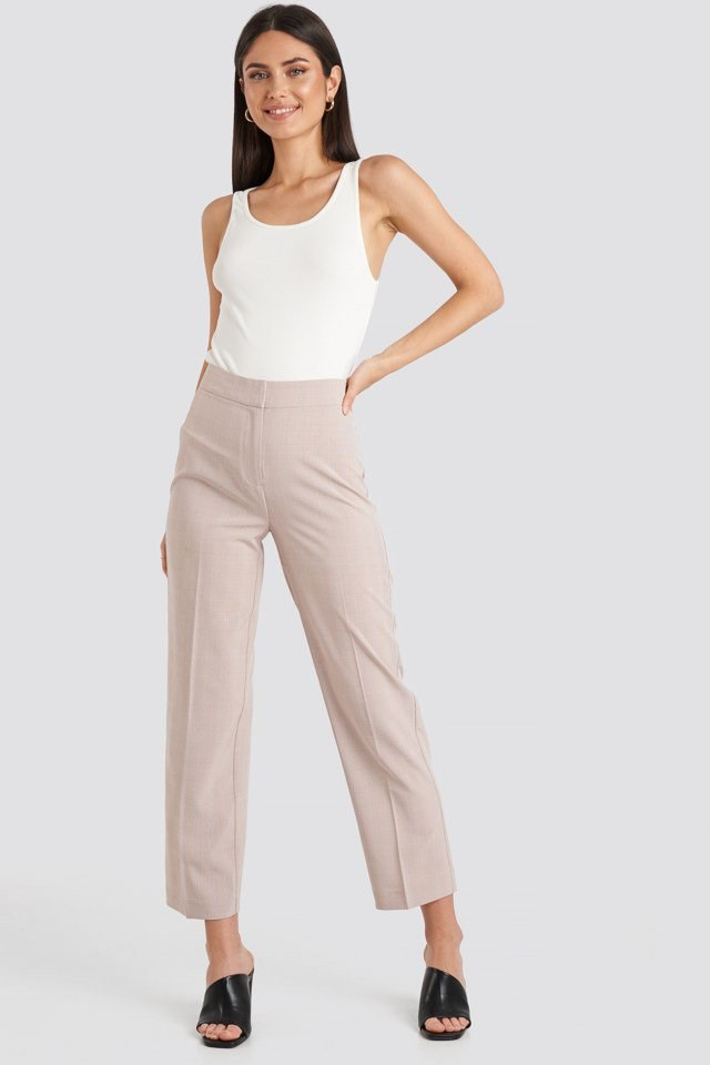 Cropped Straight Suit Check Pants Pink Outfit