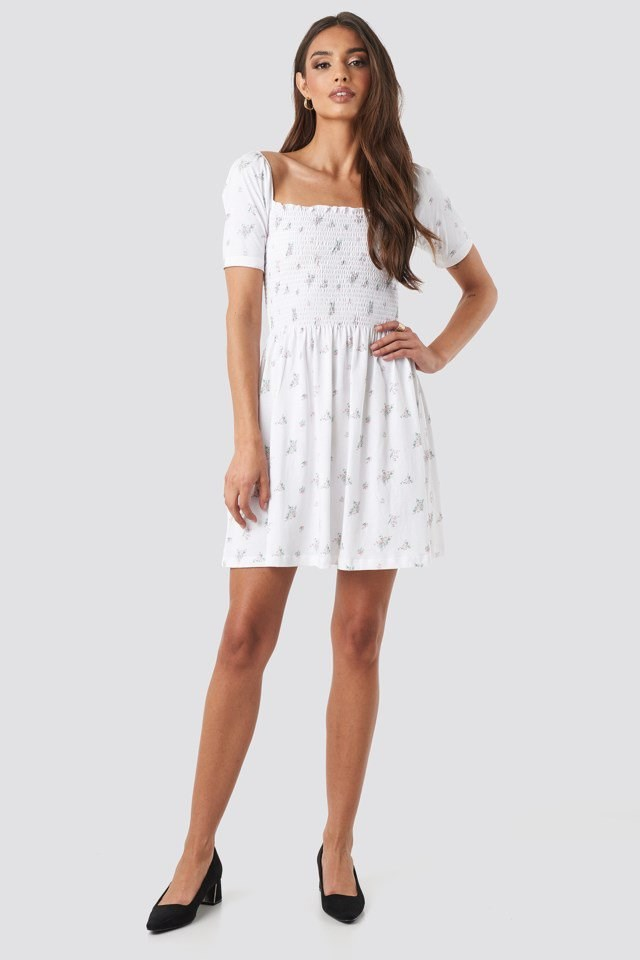 Puff Sleeve Shirring Mini Dress White Outfit