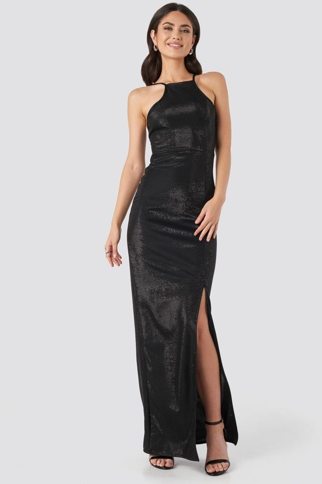 Slit Detail Evening Dress Black Outfit