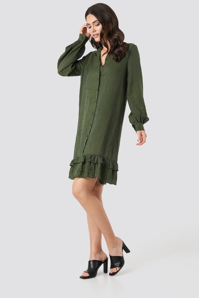 Striped Flounce Mini Dress Green Outfit
