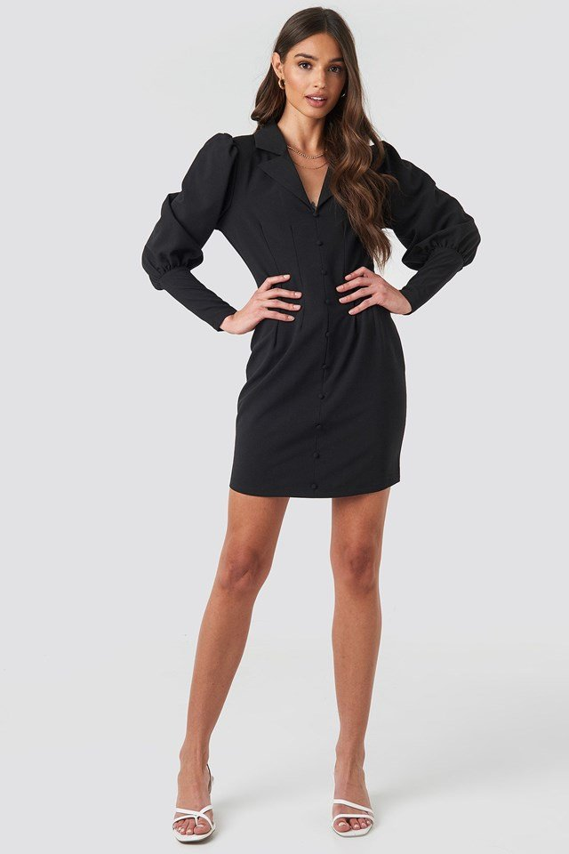 Button Front Mini Dress Black Outfit.