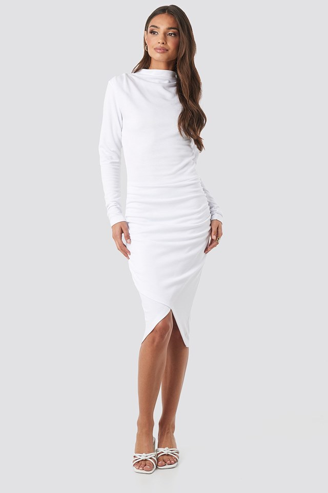 Twist Wrap Dress White Outfit.