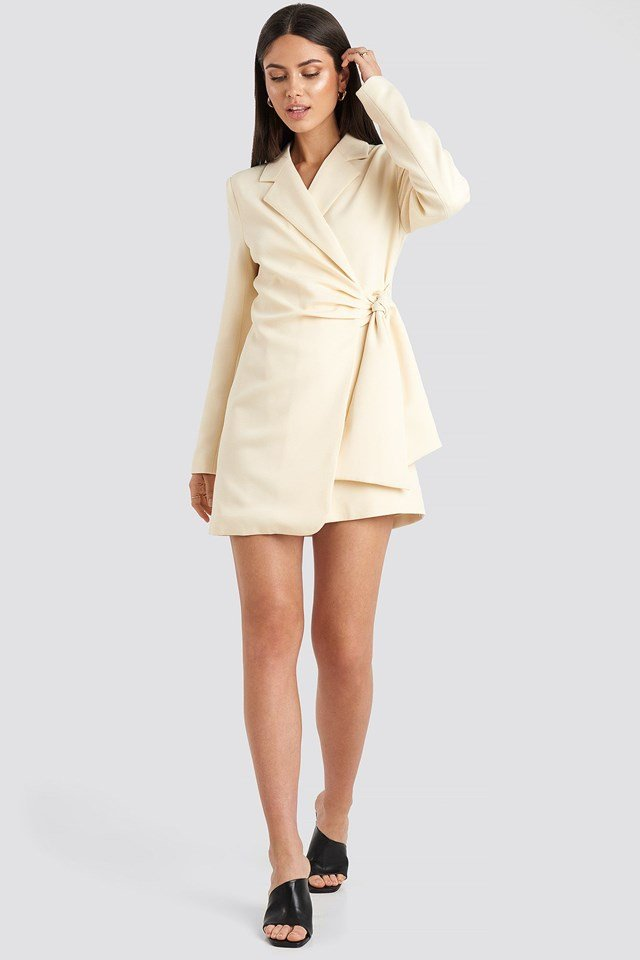 Tie Waist Blazer Dress White Outfit.