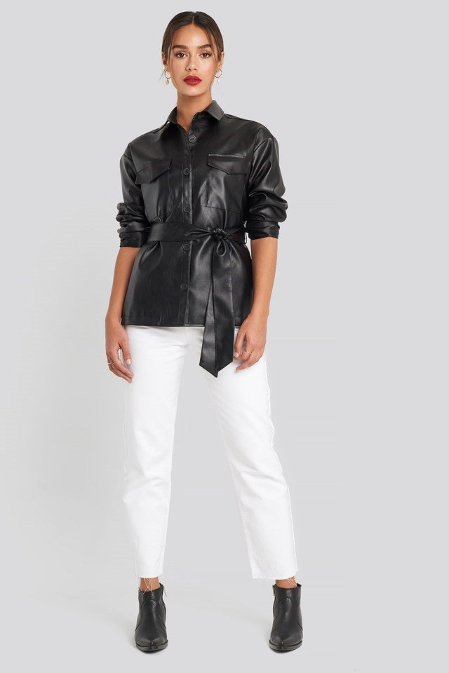PU Belted Jacket Outfit
