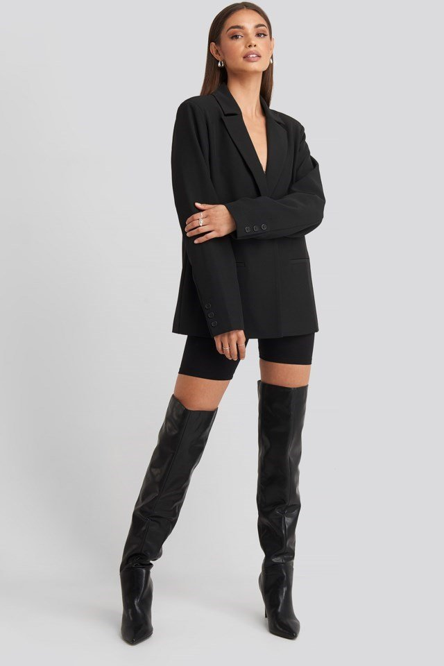 Hoss Padded Shoulder Blazer Outfit