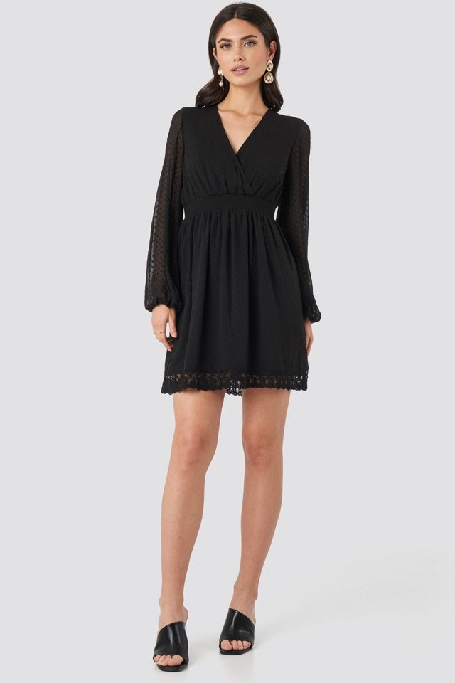 Dobby Overlap Mini Dress Black Outfit