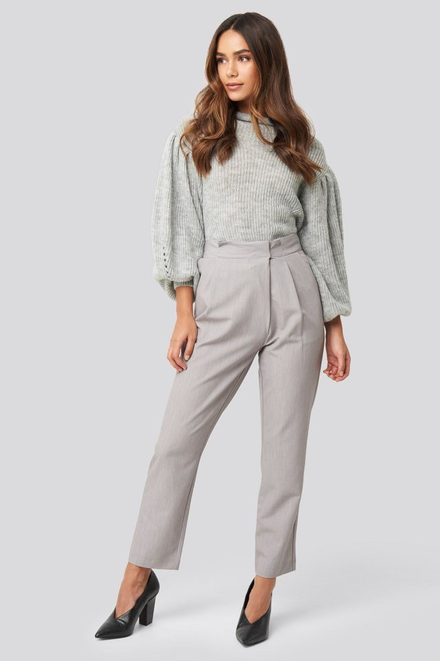 Ribbed High Neck Balloon Sleeve Knitted Sweater Grey Outfit