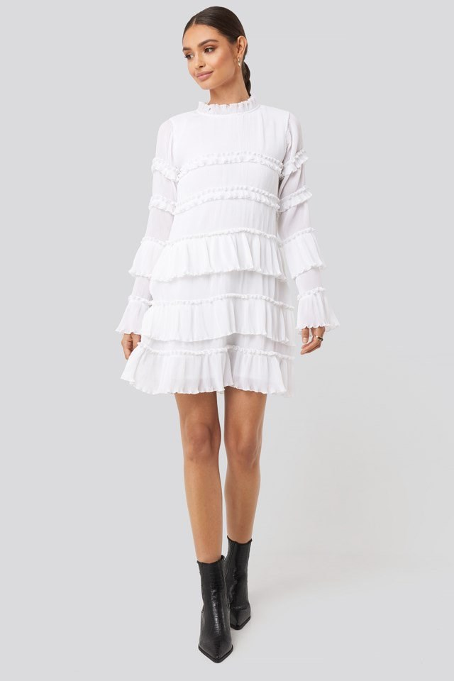 High Neck Layered Mini Dress White Outfit