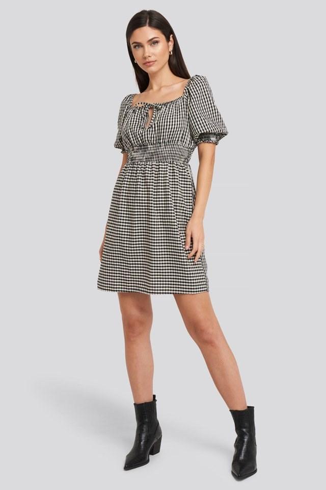 Black Plaid Pleated Mini Dress White Outfit