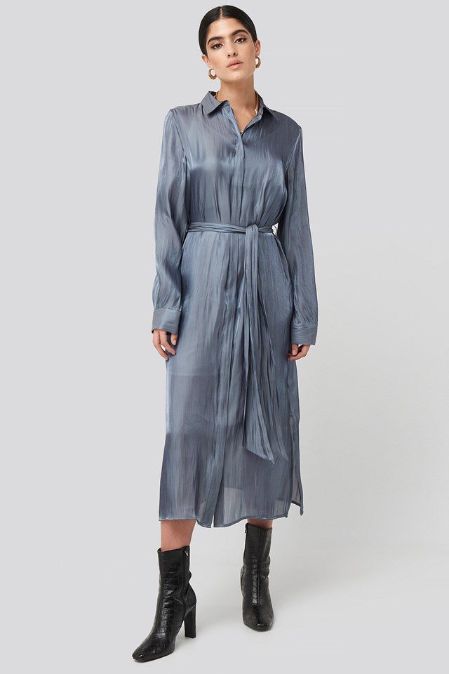 Shiny Long Shirt Dress Blue Outfit.