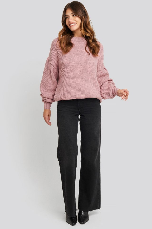 Puff Sleeve Sweater Outfit