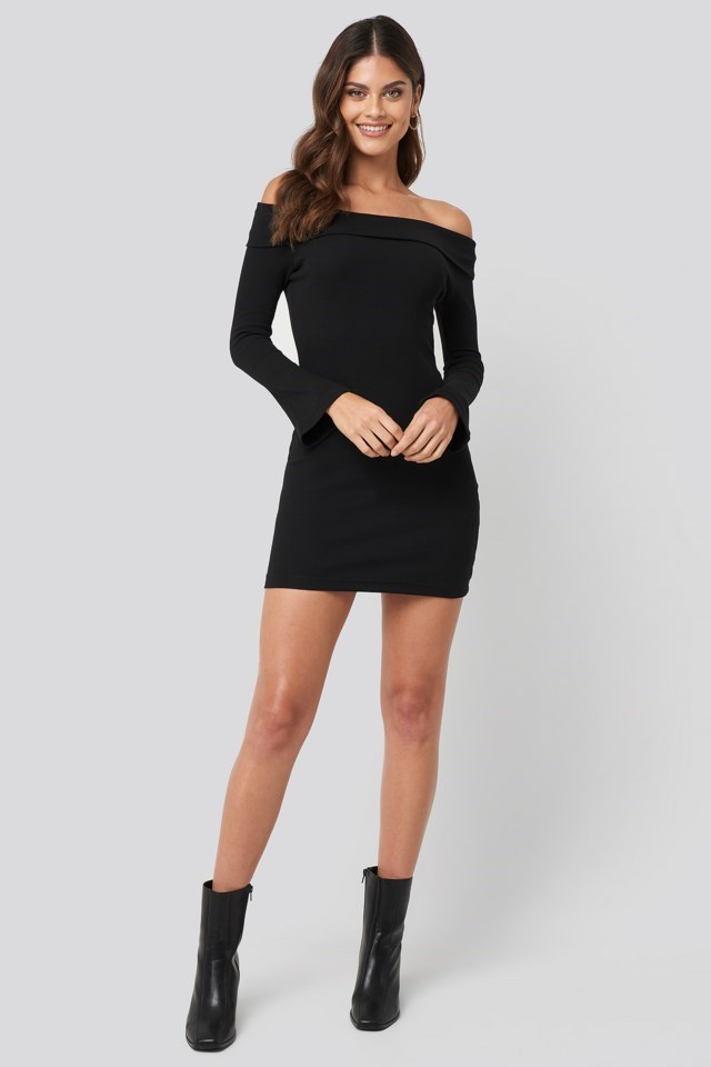 Carmen Neckline Mini Dress Black Look