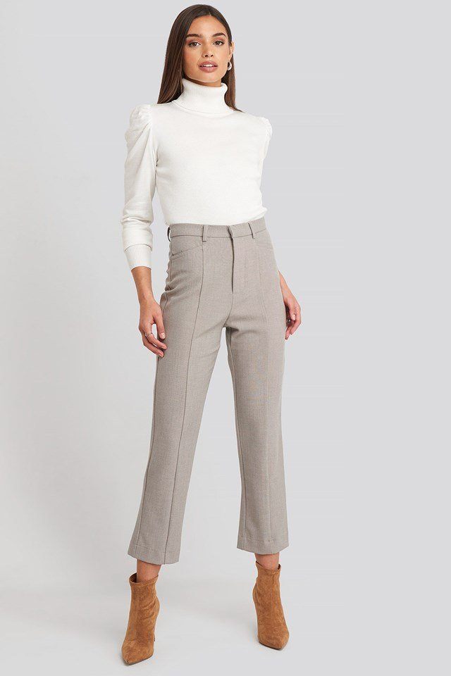 Seam Detail Straight Pants Beige Look
