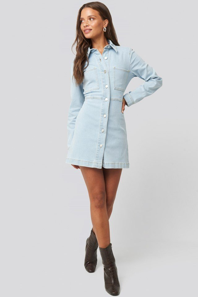 Denim Shirt Mini Dress Look