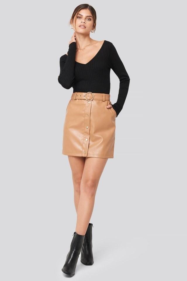PU Button Detail Skirt Look