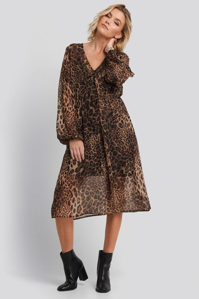 Leo Drawstring Dress Brown Outfit