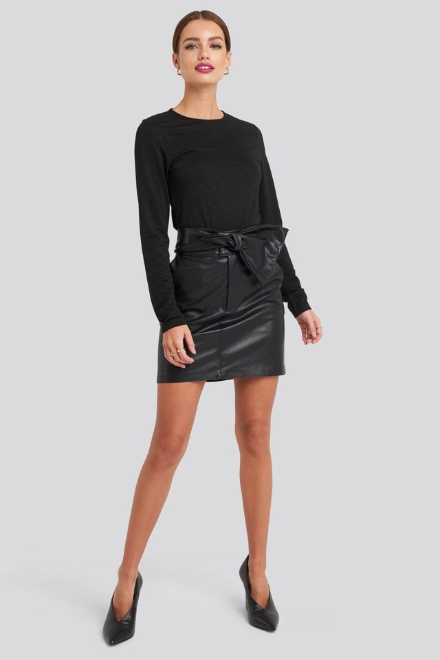 Bow Detail Faux Leather Mini Skirt Look