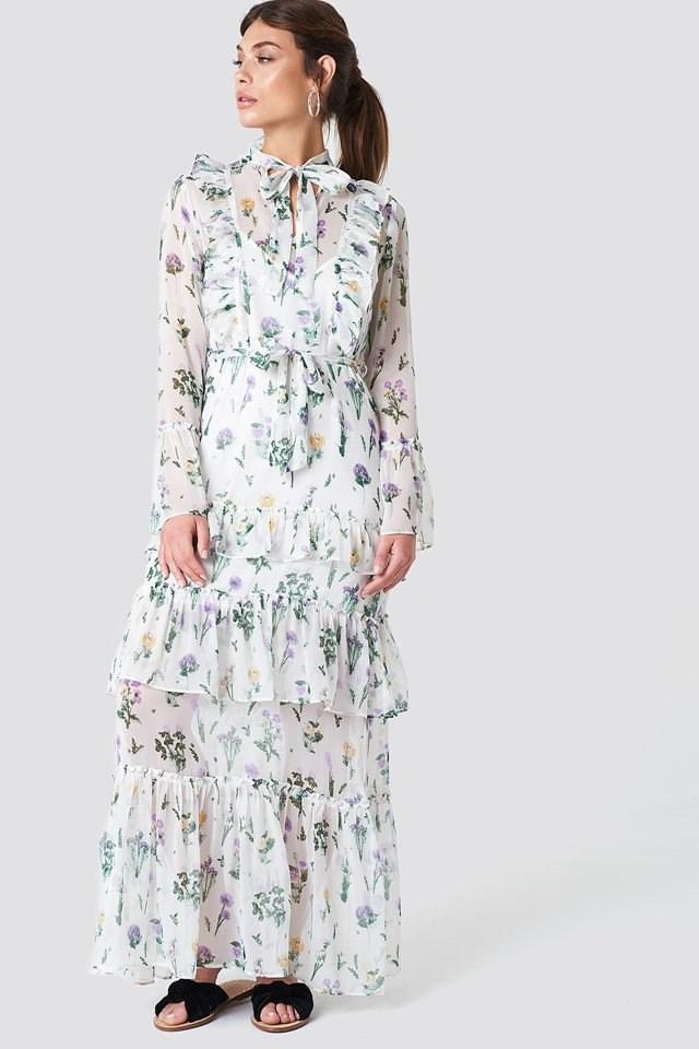 Waist Ruffle Maxi Dress