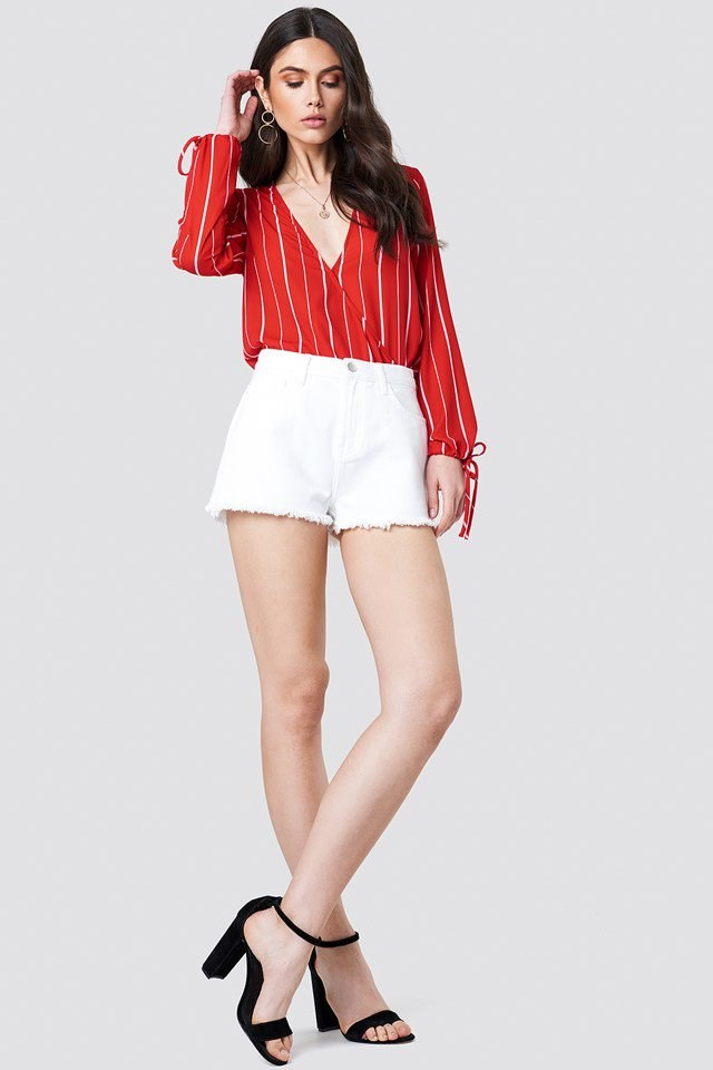 White Shorts with Vibrant Red Top