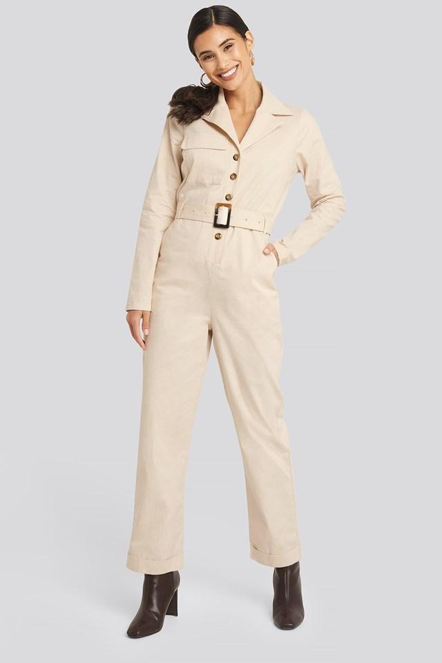 Utilitarian Jumpsuit Beige Outfit