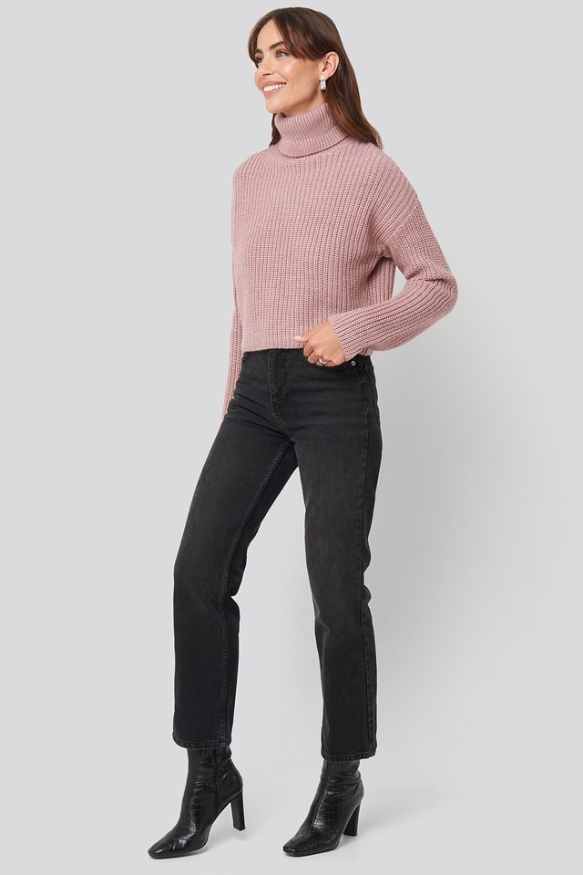 Folded Polo Neck Knitted Sweater Pink Outfit