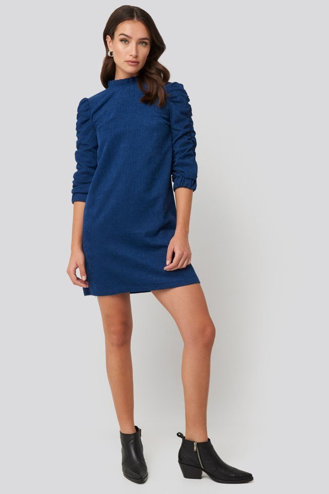 Velvet Ruffle Detail Mini Dress Outfit.