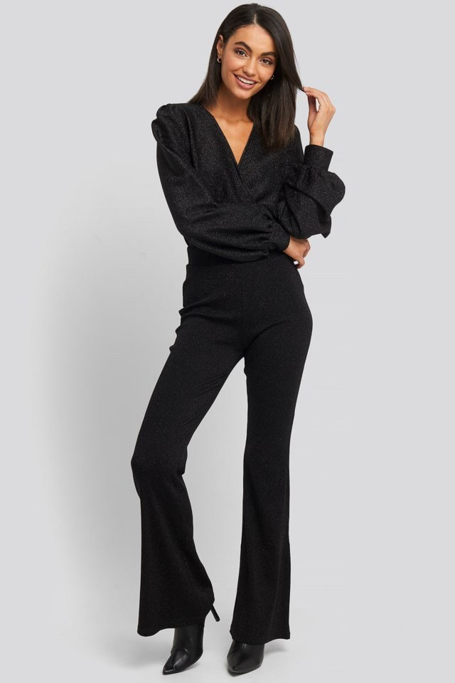 High Waist Flare Lurex Pants Outfit