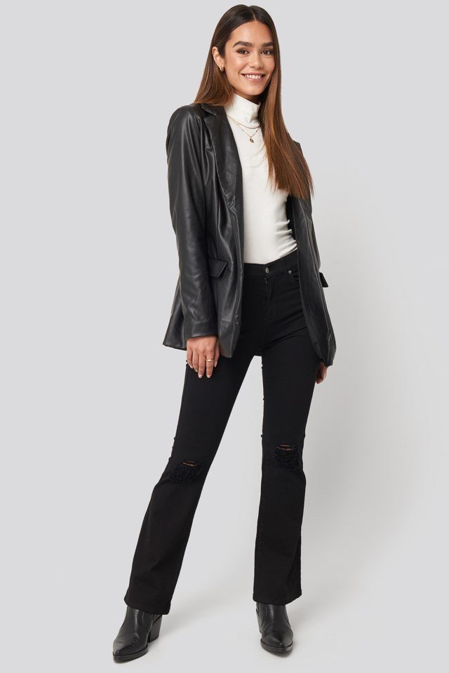 Tied Front Faux Leather Blazer Outfit