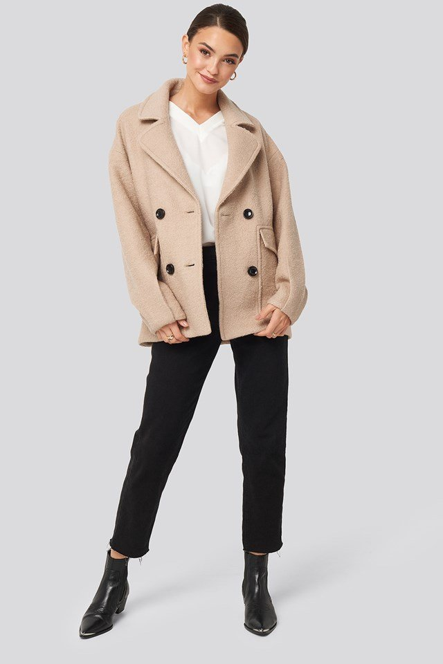 Balloon Sleeve Short Coat Beige Outfit.