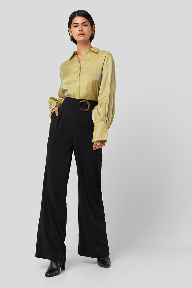Belted Wide Leg Pants Black Outfit.
