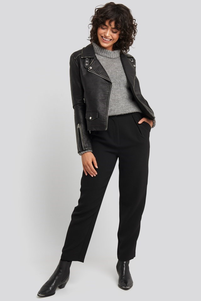 Faux Leather Biker Jacket Outfit