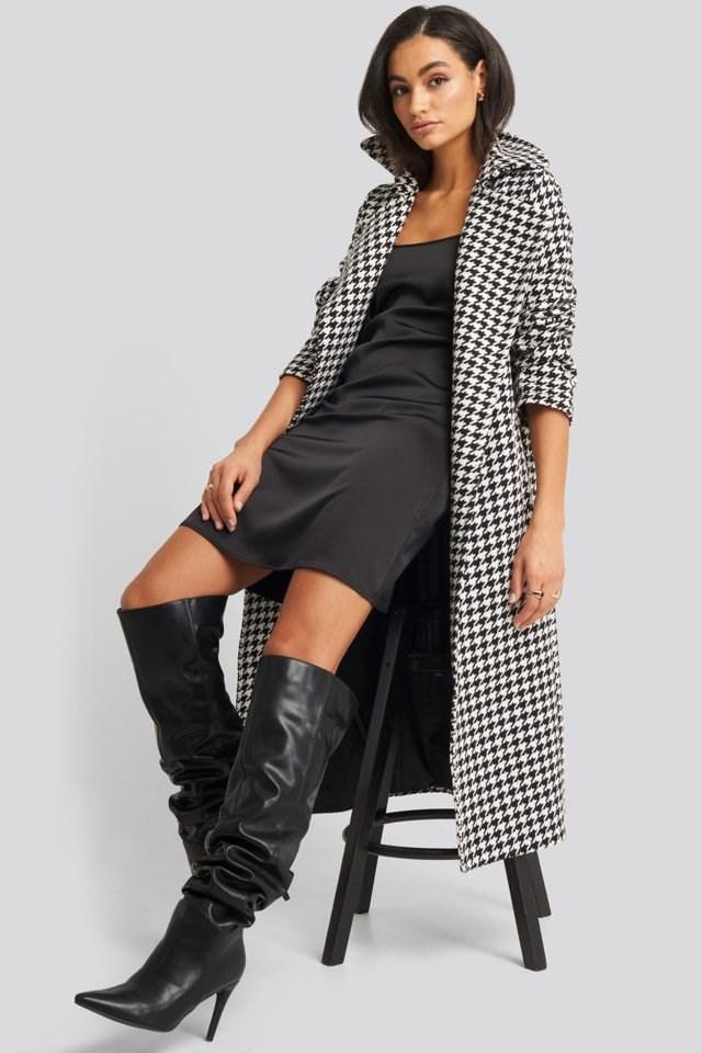 Back Strap Detail Satin Dress Black Outfit.