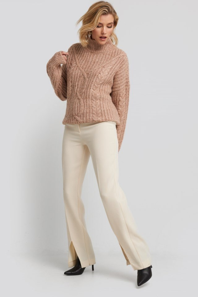 High Neck Knitted Sweater Pink Outfit.