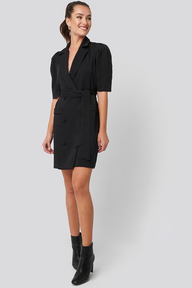 Belted Blazer Dress Black Outfit