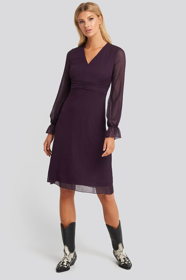 Waist Pleated Midi Dress Purple Outfit