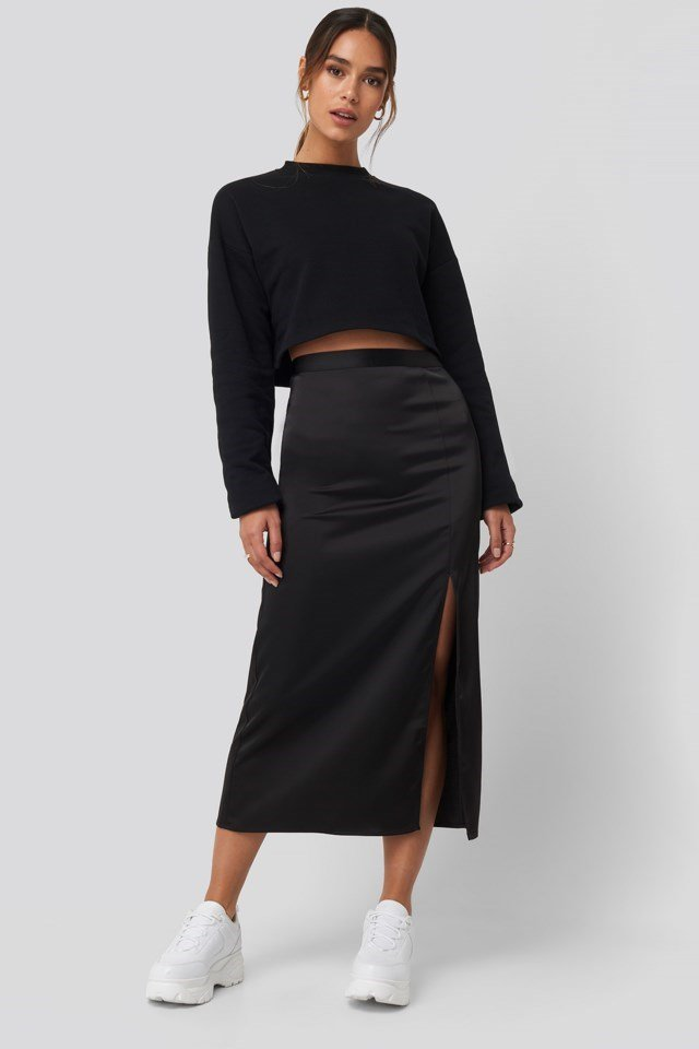 Slit Satin Skirt Outfit