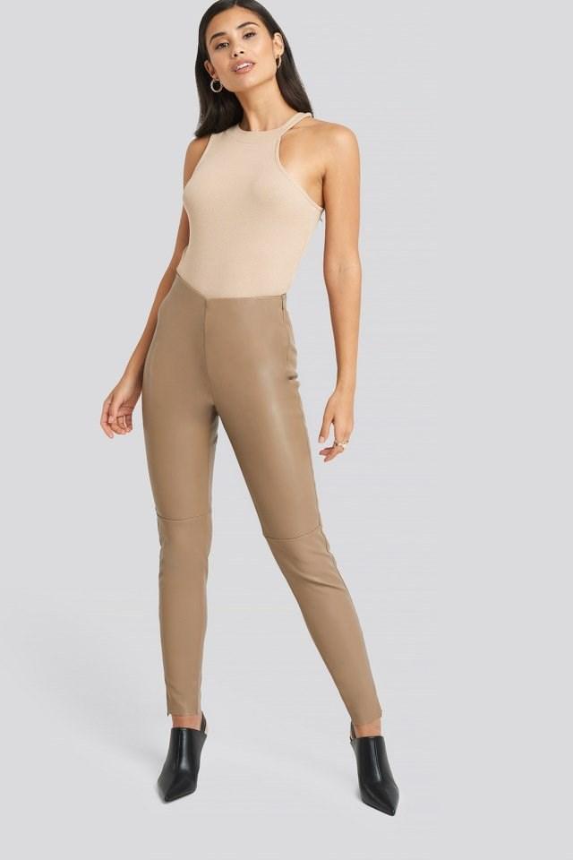 PU Zipper Pants Outfit.